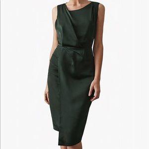 Reiss Karina Cocktail Dress in Khaki Green